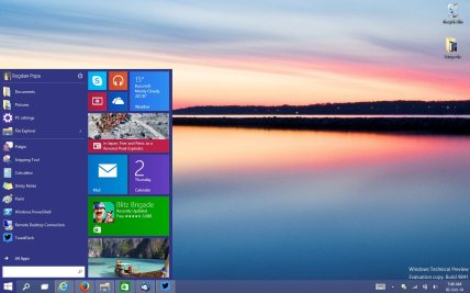 The familiar desktop with the new modern start menu