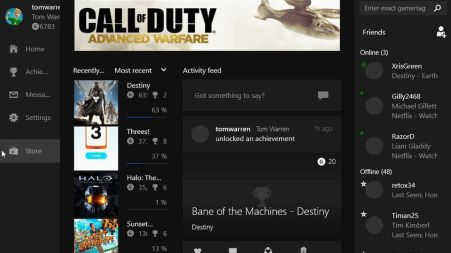 Xbox app complete with games, friends and activity feed.